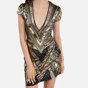 Express | NEW Black and Gold Sequin V-Neck Dress